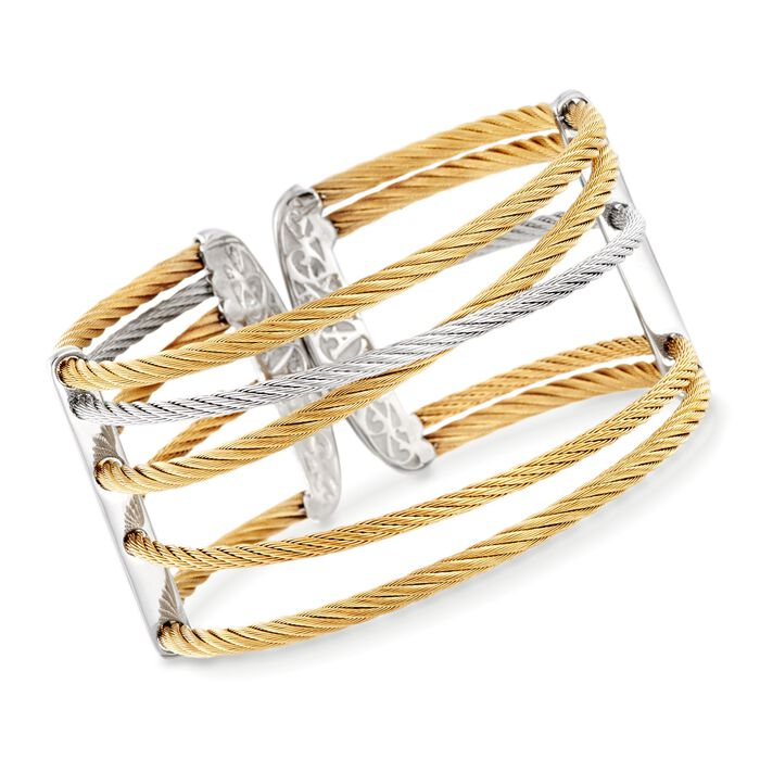 """ALOR Classique Open Two-Tone Stainless Steel Cable Cuff with 18-Karat Yellow Gold. 7"""", , default"""