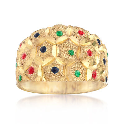 C. 1970 Vintage Honeycomb Styled Ring with Multicolored Enamel in 14kt Yellow Gold, , default