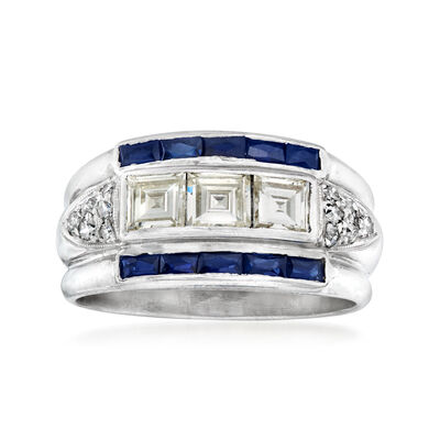 C. 1960 Vintage .90 ct. t.w. Square and Round Diamond and .50 ct. t.w. Synthetic Sapphire Ring in Platinum