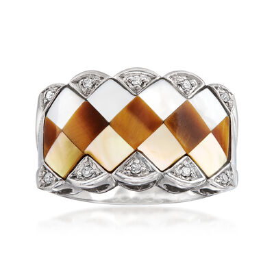 C. 1950 Vintage Mother-Of-Pearl and Tiger's Eye Ring with Diamond Accents in 14kt White Gold, , default
