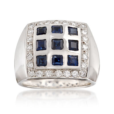 C. 1980 Vintage 1.50 ct. t.w. Sapphire and 1.50 ct. t.w. Diamond Square-Top Ring in 18kt White Gold, , default