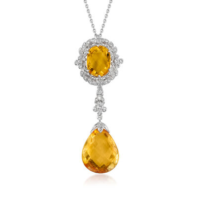 C. 2000 Vintage 15.40 Citrine and .40 ct. t.w. Diamond Pendant Necklace in 18kt White Gold, , default