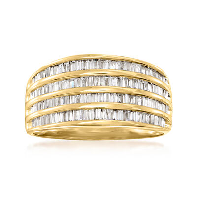C. 1980 Vintage 1.00 ct. t.w. Diamond Multi-Row Ring in 14kt Yellow Gold