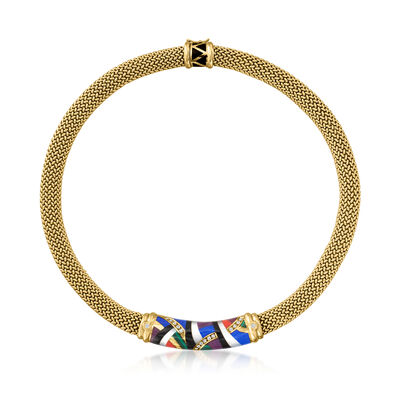 C. 1990 Vintage Asch Grossbardt Multi-Gemstone and .35 ct. t.w. Diamond Mosaic Necklace in 18kt Yellow Gold