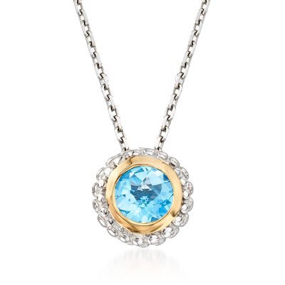 "Phillip Gavriel ""Popcorn"" .49 Carat Blue Topaz Pendant Necklace in Sterling Silver and 18kt Gold"