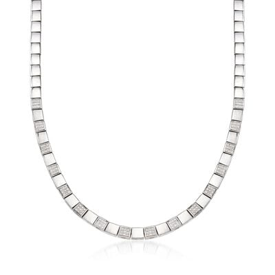 C. 1990 Vintage .90 ct. t.w. Diamond Square Link Necklace in 18kt White Gold