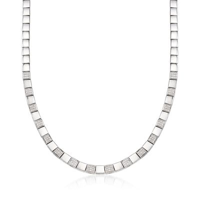 C. 1990 Vintage .90 ct. t.w. Diamond Square Link Necklace in 18kt White Gold, , default