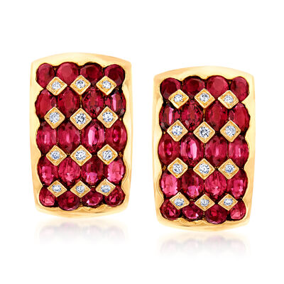 C. 1980 Vintage 8.48 ct. t.w. Ruby and .24 ct. t.w. Diamond J-Hoop Earrings in 18kt Yellow Gold, , default