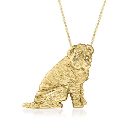 C. 1980 Vintage 14kt Yellow Gold Shar-Pei Pendant Necklace with Brown Diamond-Accented Eyes
