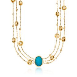 Italian Turquoise and 31.39 ct. t.w. Citrine Chain Necklace With Diamonds in 18kt Yellow Gold, , default