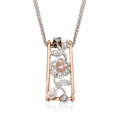 Simon G. .20 ct. t.w. Diamond Flower Pendant Necklace in 18kt Two-Tone Gold