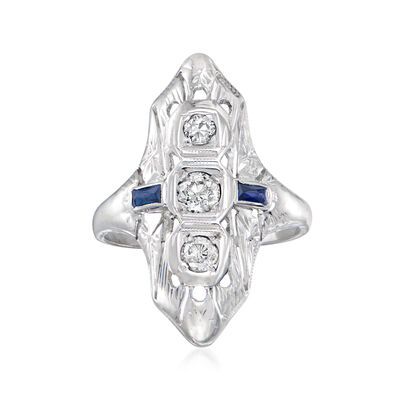 C. 1930 Vintage .30 ct. t.w. Diamond Dinner Ring with Synthetic Sapphire Accents in 18kt White Gold