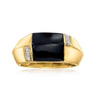 C. 1990 Vintage Black Onyx Ring with Diamond Accents in 18kt Yellow Gold