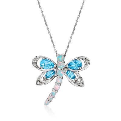C. 1990 Vintage Synthetic Opal and 1.00 ct. t.w. Sky Blue Topaz Dragonfly Pendant Necklace with Diamond Accents in 10kt White Gold