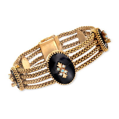 C. 1960 Vintage Black Onyx and White Opal Section Bracelet in 14kt Yellow Gold, , default
