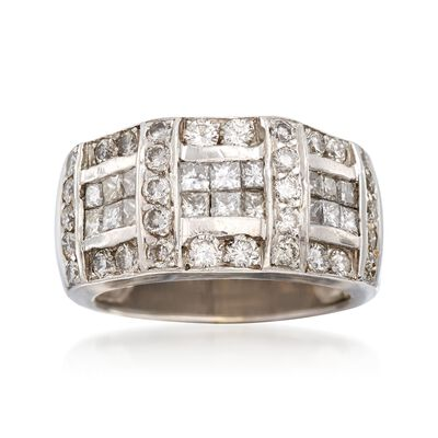 C. 1980 Vintage 1.75 ct. t.w. Princess-Cut and Round Diamond Ring in 18kt White Gold, , default