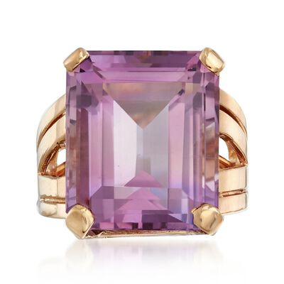 C. 1950 Vintage 17.50 Carat Amethyst Ring in 14kt Yellow Gold