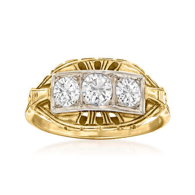 C. 1920 Vintage .70 ct. t.w. Diamond Ring in 14kt Yellow Gold