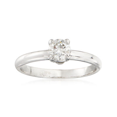 C. 1990 Vintage .50 Carat Diamond Solitaire Ring in 14kt White Gold