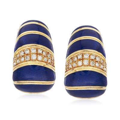 C. 1990 Vintage Blue Enamel and .60 ct. t.w. Diamond Earrings in 18kt Yellow Gold, , default