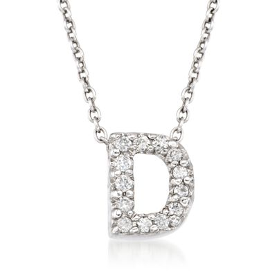 "Roberto Coin ""Tiny Treasures"" Diamond Accent Initial ""D"" Necklace in 18kt White Gold, , default"