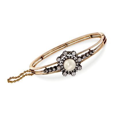 C. 1900 Vintage 9mm Cultured Pearl and 1.95 ct. t.w. Diamond Bangle Bracelet in 14kt Two-Tone Gold