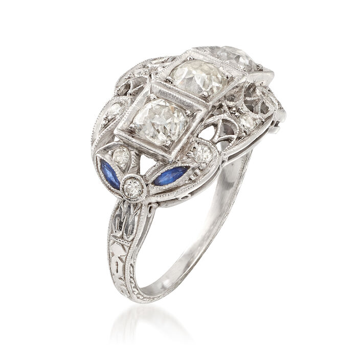 C. 1980 Vintage 1.20 ct. t.w. Diamond Ring with Simulated Sapphire Accents in Platinum
