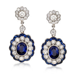 C. 2000 Vintage 4.70 ct. t.w. Sapphire and 2.30 ct. t.w. Diamond Drop Earrings in 18kt White Gold, , default