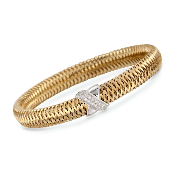Roberto Coin Primavera .18 Carat Total Weight Diamond Bracelet in 18-Karat Two-Tone Gold. 7""