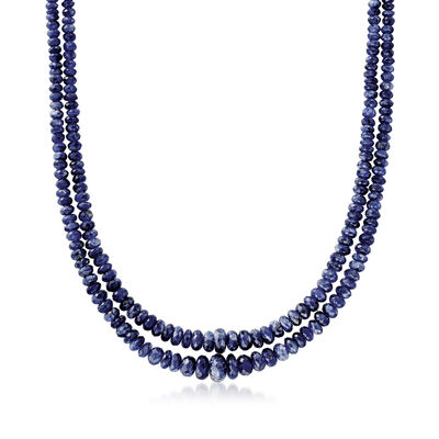 C. 1980 Vintage 55.00 ct. t.w. Sapphire Bead Two-Row Necklace with 18kt Yellow Gold