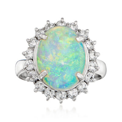 C. 1980 Vintage Opal and .72 ct. t.w. Diamond Ring in Platinum