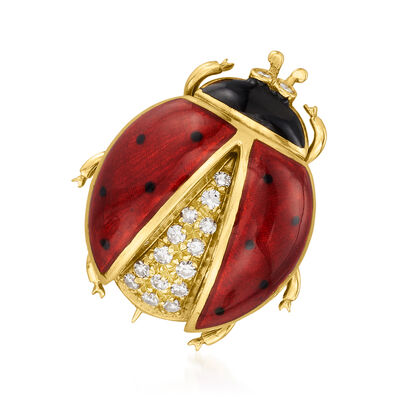 C. 1980 Vintage .25 ct. t.w. Diamond Ladybug Pin in 18kt Yellow Gold with Multicolored Enamel
