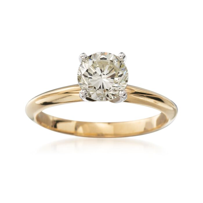 C. 2000 Vintage 1.17 Carat Diamond Solitaire Engagement Ring in 14kt Yellow Gold. Size 6.25, , default