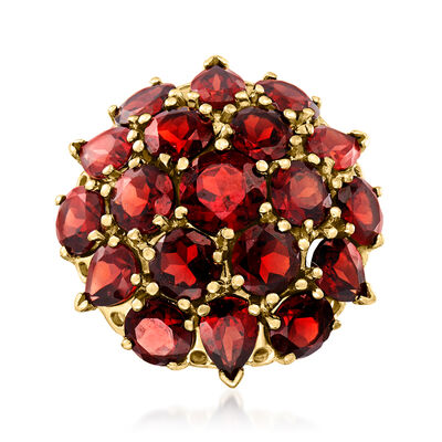 C. 1970 Vintage 13.70 ct. t.w. Garnet Cluster Ring in 14kt Yellow Gold