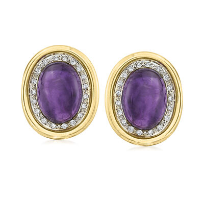 C. 1980 Vintage 14.00 ct. t.w. Amethyst and .50 ct. t.w. Diamond Clip-On Earrings in 14kt Yellow Gold