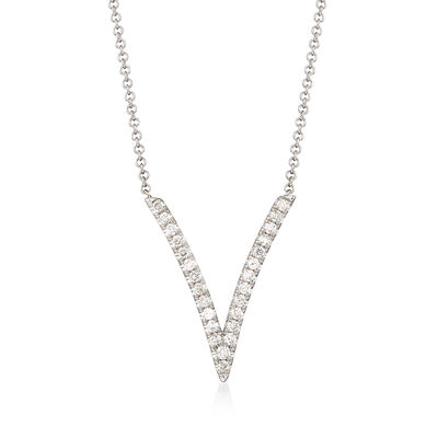 Gabriel Designs .29 ct. t.w. Diamond Deep V-Necklace in 14kt White Gold, , default