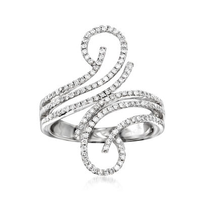 C. 1990 Vintage .75 ct. t.w. Diamond Open-Space Swirl Ring in 14kt White Gold