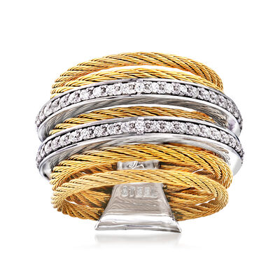 "ALOR ""Classique"" .38 ct. t.w. Diamond Yellow Stainless Steel Cable Ring with 18kt White Gold"