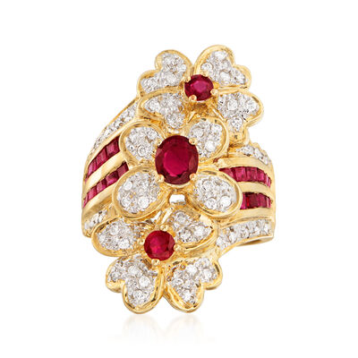 C. 1980 Vintage 1.85 ct. t.w. Ruby and .32 ct. t.w. Diamond Flower Ring in 18kt Yellow Gold, , default