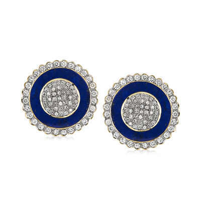 C. 1980 Vintage Lapis and 2.29 ct. t.w. Diamond Shield Clip-On Earrings in 18kt Yellow Gold, , default