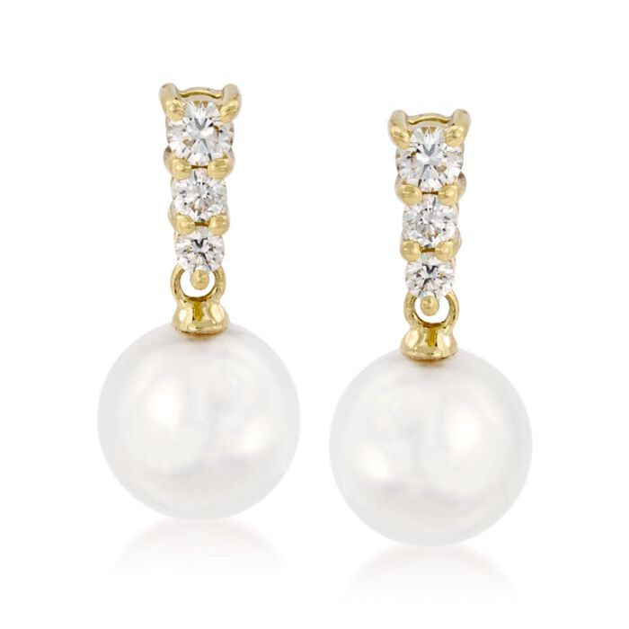 Mikimoto Akoya Pearl and Diamond Dangles, , default