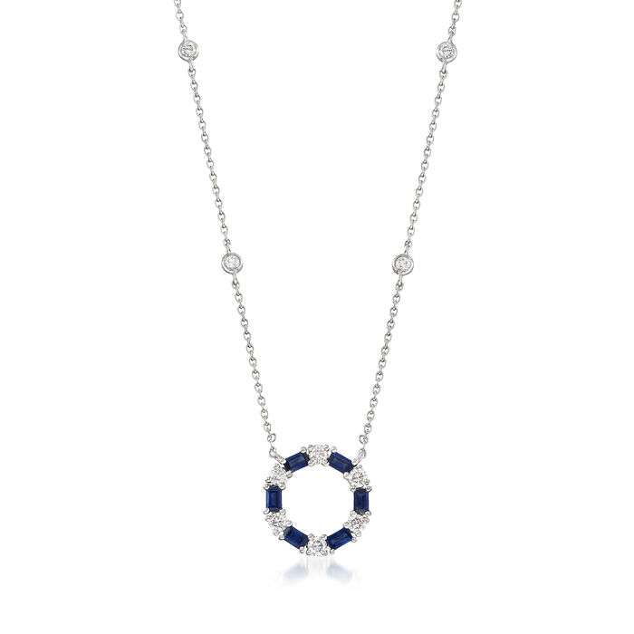 "Gregg Ruth .72 ct. t.w. Sapphire and .44 ct. t.w. Diamond Circle Pendant Necklace in 18kt White Gold. 16"", , default"