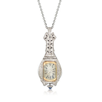 """C. 1910 Vintage Ebel 1.15 ct. t.w. Diamond and .40 ct. t.w. Synthetic Sapphire Watch Pendant Necklace in Platinum and 14kt White Gold. 18"""""""