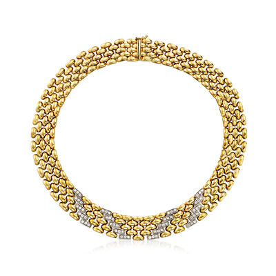 C. 1980 Vintage 1.80 ct. t.w. Diamond Vertical-Design Necklace in 14kt Yellow Gold