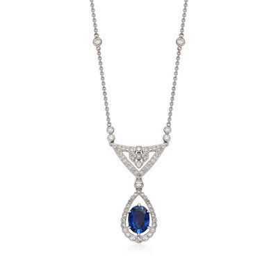 C. 2000 Vintage 2.72 Carat Sapphire and 1.25 ct. t.w. Diamond Necklace in 18kt White Gold, , default