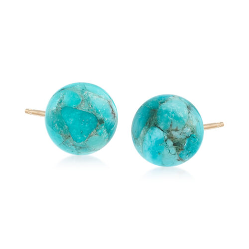 10mm Turquoise Bead Stud Earrings in 14kt Yellow Gold. #585080