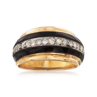 C. 1960 Vintage 1x22 Onyx Ring with .35 ct. t.w. Diamonds in 18kt Yellow Gold, , default