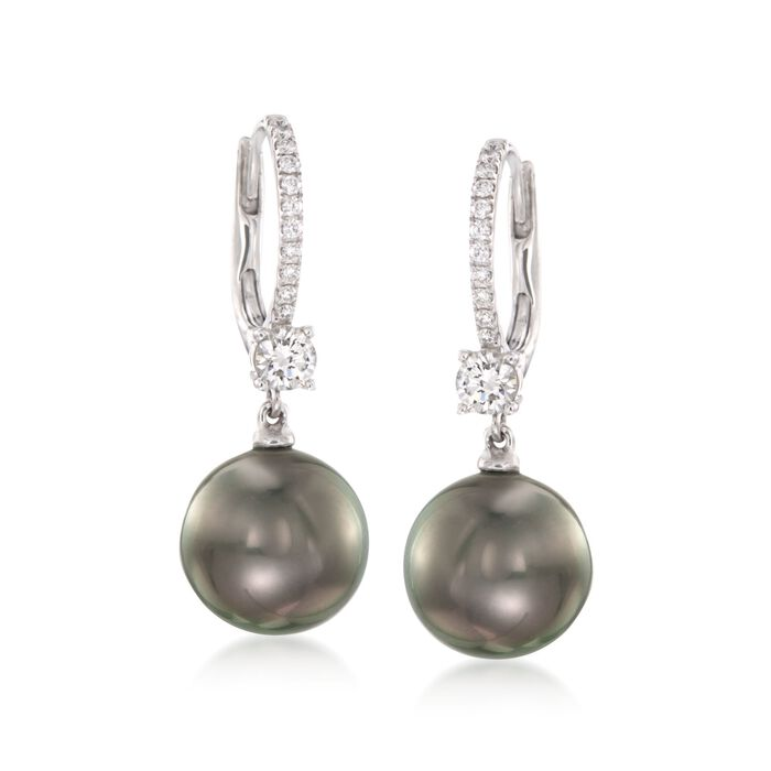 Mikimoto Black Cultured South Sea Pearl and .54 Carat Total Weight Diamond Drops in 18-Karat White Gold, , default