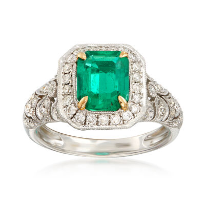 C. 1990 Vintage 2.00 Carat Octagon Colombian Emerald and .75 ct. t.w. Diamond Ring in 18kt White Gold, , default