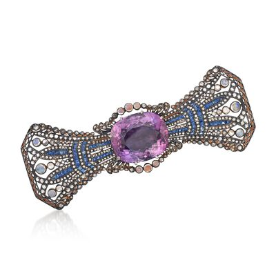 C. 1980 Vintage Moonstone and 43.33 ct. t.w. Multi-Stone Bow Pin in Two-Tone Sterling Silver, , default